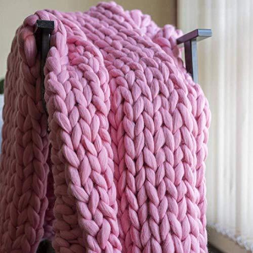 Manta de Punto Gruesa, Lana de Hilo, Muy Grande Tejida a Mano Manta para Mascotas Cama sofá Yoga Alfombra Pink 120×150cm