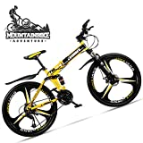 NENGGE Folding 26 Inch Mountain Bike for Adult Male & Female, Double Suspension Mountain Bike MTB com travão de disco, High Carbon Steel Frame MTB Cycling,3 Spoke Yellow 2,24 Speed.