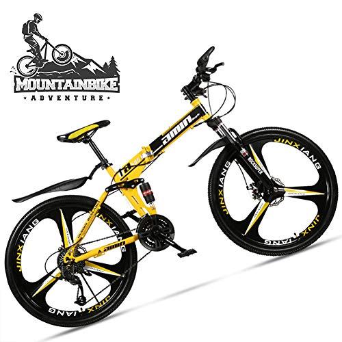 NENGGE Plegable Bicicleta Montaña 26 Pulgadas para Adulto Hombre & Mujer, Doble Suspensión Bicicleta BTT con Freno Disco, Marco Acero Alto Carbono MTB Ciclismo,3 Spoke Yellow 2,24 Speed