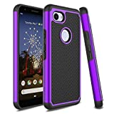 Venoro Google Pixel 3a Case, Slim Hybrid Dual Layer Anti Scratch Shockproof Rugged Phone Protection Case Cover for Google Pixel 3a (Purple)