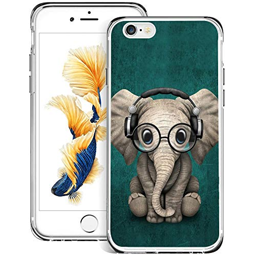 youxieshang Watercolor Horse iPhone 6s Plus 6 Plus Case Customized Design Anti-Scratch Flexible Shock Absorption Soft TPU Protective Phone Case for iPhone 6s Plus 6 Plus-Clear (Elephant)