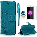 iPhone 6 / 6S Hülle (4,7 Zoll) Wallet Hülle Flip Hülle YOKIRIN Schmetterling Blumen Muster Schutzhülle PU Leder Brieftasche Ledertasche im Bookstyle für iPhone 6 6S Tasche Blau
