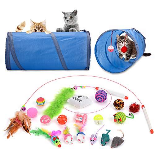 Legendog Juguetes para Gatos, Juguete Interactivo para Gatos con Plumas para Kitty (New-20Pcs)