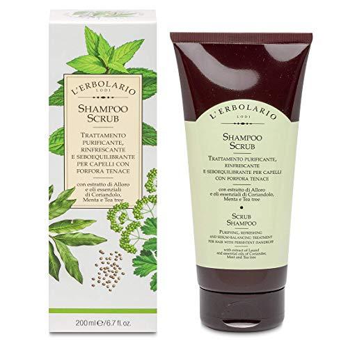 L'Erbolario Shampoo Scrub Trattamento purificante, rinfrescante e seboequilibrante per capelli con forfora tenace 200 ml