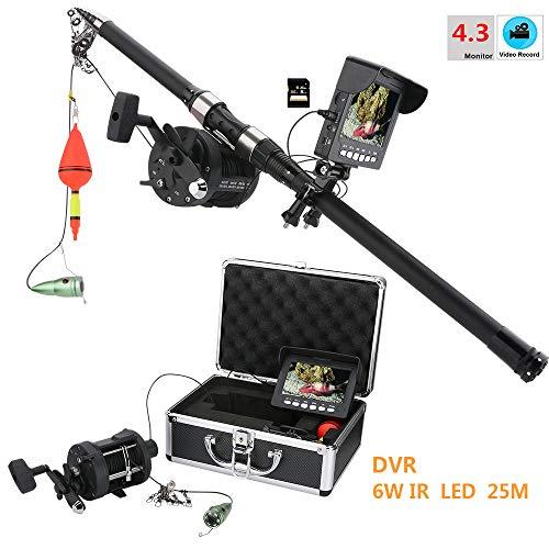 Monitor LCD de 4.3 pulgadas Cámara de video de pesca submarina Buscador de peces Grabación DVR para pesca en el lago y el hielo, Longitud de cable de extensión de la cámara disponible: 25m