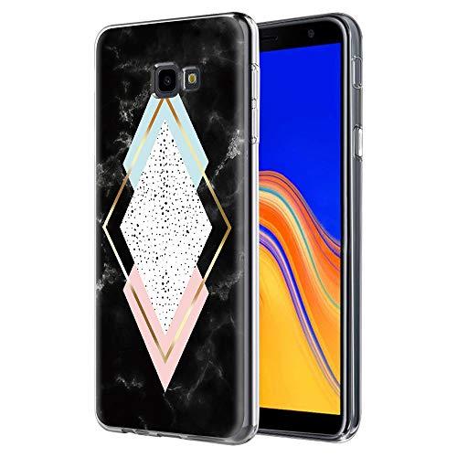 Pnakqil Funda Samsung Galaxy J4 Plus, Silicona Transparente con Dibujos Diseño Slim TPU Antigolpes Ultrafina de Protector Piel Case Cover Cárcasa Fundas para Movil Samsung J4Plus, Mármol de 4 Caras