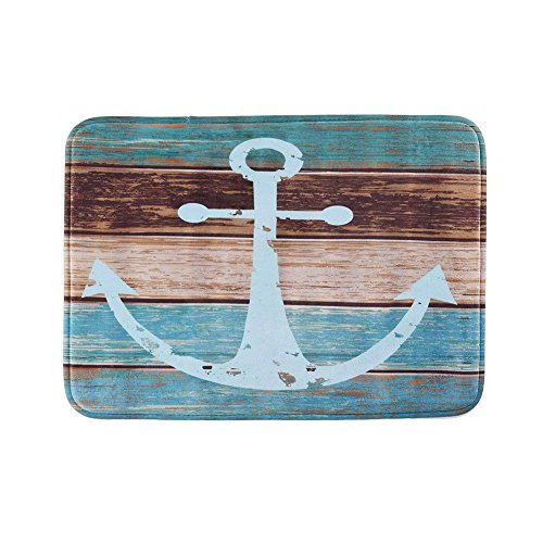 Uarter Vintage Retro Nautical Anchor Bathroom Rug Anti-slip Kitchen Mat Soft Absorbent Floor Bath Carpet with Non-slip SBR Backing, Blue
