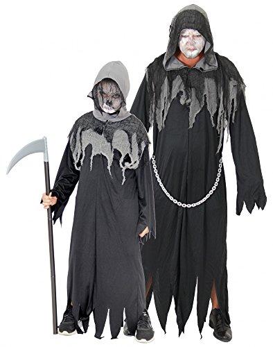 Foxxeo Sensenmann Halloween Kostüm für Jungen Grim Reaper Kinder-Kostüm Größe 134-140