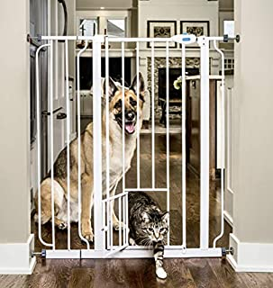 Carlson Extra-Tall Walk-Thru Gate with Pet Door (White)