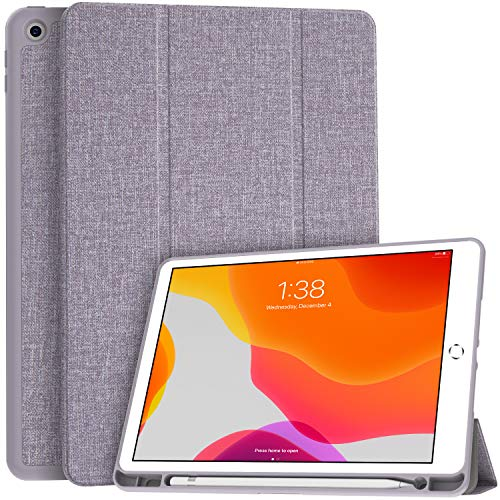 Soke New iPad 7th Generation 10.2' Case 2019 with Pencil Holder, Premium Shockproof Case with Soft TPU Back Cover and Auto Sleep/Wake Function for Apple iPad 7th Gen 10.2 Inch, Violet