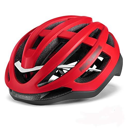 Honglimeiwujindian Casques de vélo de Route Casque de vélo pneumatique Casque de vélo Casque de Moulage intégré Homme Mountain Equipment Vélo Unisexe Réglable Léger (Couleur : Rouge, Size : L)