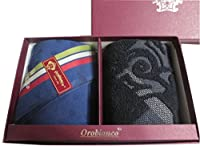 [オロビアンコ] Orobianco 紳士 メンズ ハンカチ タオルハンカチ 2枚 セット 専用箱入り 紺ドット グレー