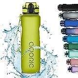 Adoric Trinkflasche 1000ml Auslaufsichere BPA-frei Outdoor Sportflasche aus Tritan Wasserflasche Kinder für Sport Fitness Fahrrad Grün