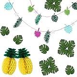Ucradle Hawaii Flamingo Deko Party - 16 Pcs Hawaii Tropischen Banner, Künstliche Palmblätter, Ananas Wabenball, Foto Requisiten Zubehör/Geburtstagsfeier/Raumdekoration/Garten Party Dekoration