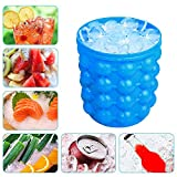 Ice Bucket, Large Silicone Ice Bucket & Ice Mold with lid, (2 in 1) Space Saving Ice Cube Maker, Silicon Ice Cube Maker, Portable Silicon Ice Cube Maker