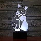 Cute Flash Cat Cat Mood Night Light 3D LED Lámpara de mesa niños regalo de cumpleaños decoración de la habitación junto a la cama