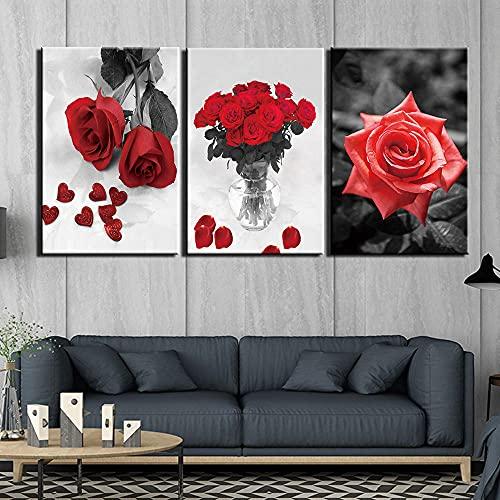SGDJ Flor Blanca y Negra Impresiones en Lienzo Pintura Decoración para el hogar Arte de la Pared Posters 3 Piezas con Marco