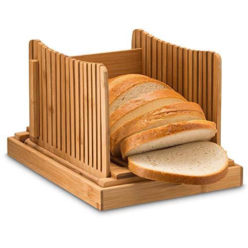 Aional - Cortador de pan de bambú para pan casero, foladable y compacto, guía con bandeja de recogedor de migas, cortador de 3 espesores ajustable para pan de torta y bagels sándwich