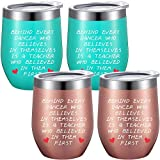 4 Pieces Dance Teacher Appreciation Gift Coffee Mug, Graduation Birthday Teacher's Day Thank You Present for Women Dance Teacher, 12 oz Wine Tumblers with Lids Straws and Brushes