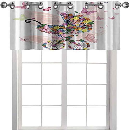 Cortinas opacas cortas con cenefa de flores y mariposas, carro, celebración, nacimiento, felicidad, imagen de 106,7 x 45,7 cm, cortina opaca para cocina, color rosa