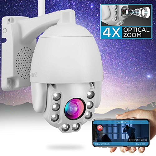 Outdoor PTZ IP Security Camera - 4X Optical Zoom - Starlight Night Vision 2mp HD 1080p Home Wireless WiFi Video Surveillance - Two Way Audio, Cloud Storage, Alexa Show - SereneLife IPCAMOD47 Camera Cameras Dome Features Photo