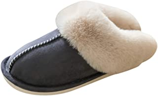 KAIXLIONLY Women's House Slippers,Suede Comfy Memory Foam Slippers Fluffy Warm Non-Slip Cozy Slip-on House Shoes