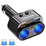 SUPERONE 200W 2-Socket Cigarette Lighter Splitter Power Adapter, USB C Car Charger with 18W Power Delivery 3.0 & Quick Charge 3.0 for iPhone 12/11/11 Pro/X/8/7, Samsung, Google Pixel and More