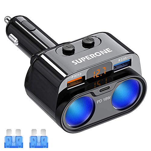 SUPERONE 200W 2-Socket Cigarette Lighter Splitter Power Adapter, USB C...