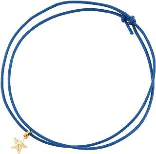 [ジュエリーショップエム] 2Way スター 星 スタッズ ロウ引き紐 ブレスレット アンクレット 金属アレルギー対応 メンズ レディース v4308 ブルー 青