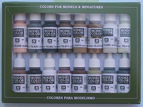 VALLEJO-3070144 70144 Vallejo Model Color Set 16 CO, Multicolor (3070144)