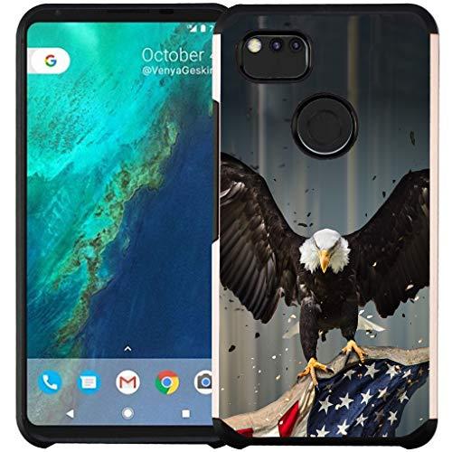 Google Pixel 2 XL Hülle, doppellagig, stoßfest, American Bald Eagle Fliegen mit Fahne