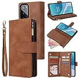 LBYZCASE Handyhülle für OnePlus 9 Pro (2021), One Plus 5G Brieftaschen-Schutzhülle, Luxus-Folio-Klapp-Lederhülle, Reißverschlusstasche, Handgelenkschlaufe, Ständer, Magnetverschluss, (braun)