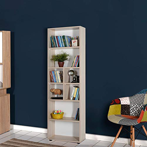 Adore Furniture Tall Oak Bookcase 187cm, Eight Shelves, Grey Oak Effect Shelving Display Storage Unit Office Living Room Furniture