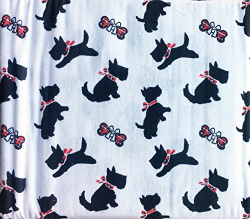 Cozy Cabin 3 Piece Cotton Flannel Twin Size Single Bed Sheet Set Black Scotties Dogs Puppies with Red Ribbons on White