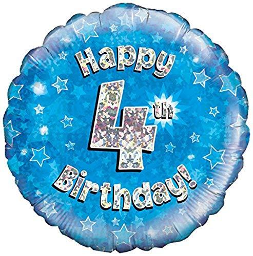 Oaktree UK 45,7 cm Joyeux 4e Anniversaire holographique Feuille Motif Ballons, Bleu