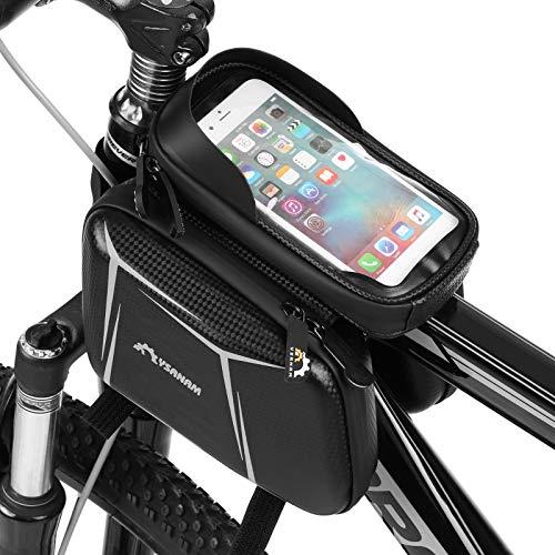 Lixada Bolsa para Manillar de Bicicleta con Pantalla Táctil,Impermeable, Marco Frontal,Tubo Superior,Carcasa Rígida,Doble Paquete de Alforjas