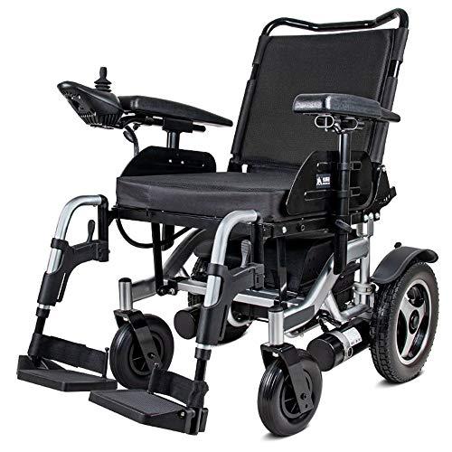 DYHQQ Elektrisch angetriebener Rollstuhl, faltbar, leicht, Sitzbreite 60 cm, Abnehmbarer Rollstuhl mit Lithiumbatterie, motorisierte Rollstühle