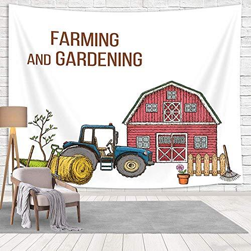 Moderna casa de granja roja con camioneta rústica para colgar en la pared, arte de pared, granero de agricultura en el campo, tapiz vintage para sala de estar, dormitorio, ropa de cama, 152 x 101 cm