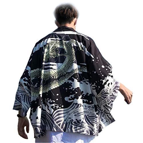 WYUKN Cárdigan De Kimono Japonés para Hombre Cárdigan De Punto con Plumas De Estilo Chino para Mujer Cárdigan Japonés,A-3XL