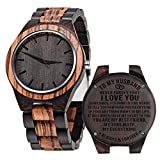 to My Husband Anniversary Gifts Wooden Watch Engraved Wife to Husband Watches Wedding Personalized Birthday Watch for Him Man - Zebra Black