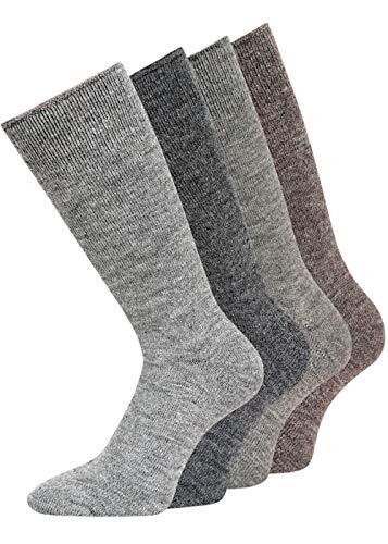 Alpaka Socken mit Alpakawolle Spitze handgekettelt NEUHEIT: MIT FROTTEESOHLE weich & warm, ab 2 Paar, (39-42, 4 Farben 4er Set)