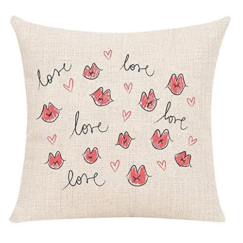 Juego de Fundas de cojín de 2 Lips & Love de Lino de algodón de 45x45 cm para Sala de Estar, Dormitorio, sofá, sillón