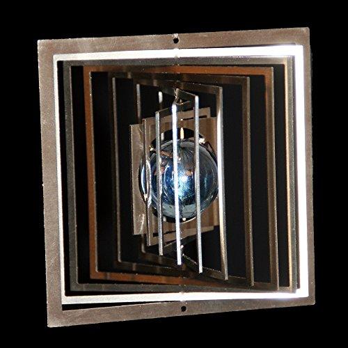 Edelstahl-Windspiel Quadrat klein Höhe -9cm x Breite -9cm mit Glaskugel Ø-25mm (hellblau) Für den Garten und als Fensterschmuck