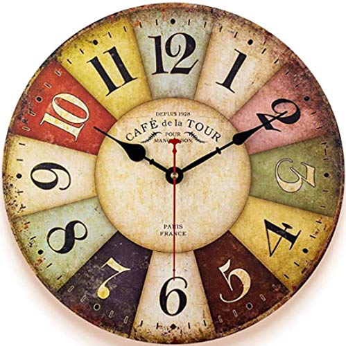 12 Inch Thick Wood Kitchen Wall Clock Retro Farmhouse Clocks for Living Room Decor Bedroom Restaurant,Silent Battery Operated,Colorful Tuscan Country Style