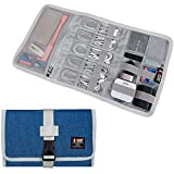 Electronic Organizer, BUBM Travel Cable Bag/USB Drive Shuttle Case/Electronics Accessory Organizer for Home Office, Light Blue