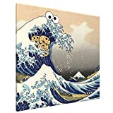 Cookie Monster Wave Japanese T-Shirt - Sea is for Cookie Home Decor Artwork Canvas Wall Art Prints Pictures 16' X 16'