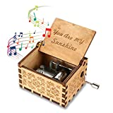 womdee music box you are my sunshine theme, wooden classic music box crafts with hand crank, 18