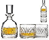 Godinger Stackable Whiskey Decanter and Whisky Glasses Dublin 3 pc set, for Liquor Scotch Bourbon or Wine