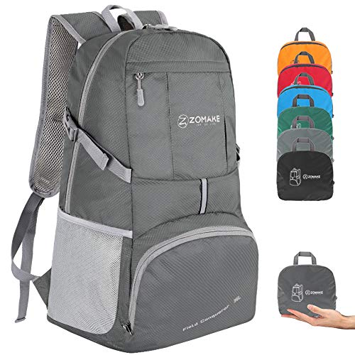 ZOMAKE Lightweight Foldable Backpack 35L, Water Resistant Rucksack, Unisex Nylon Daypack for Travel Hiking Cycling Outdoor Sport (Dimgray)