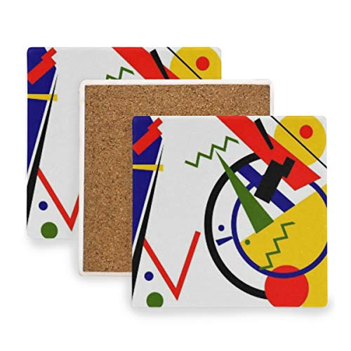 PANILUR Malevich Forma geométrica Abstracta Cubismo Colorido Geometría roja Círculo Negro Constructivismo,Posavasos de cerámica,Base de cojín para Taza de café